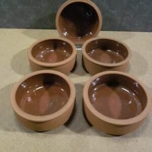 5 aardewerken schaaltjes