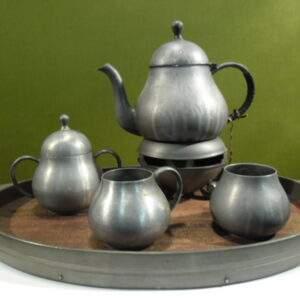 Tinnen thee service Meeuws en zoon