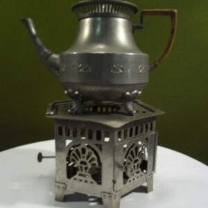 Tinnen thee kan met theelichtje made in HOLLAND