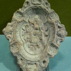 Asbak aardewerk ruitvorm met jacht tafereel