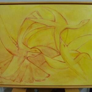 Schilderij ,decoratie, modern, twee vogels op geel doek van Riwell
