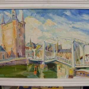 Schilderij, brug en toren, 1974