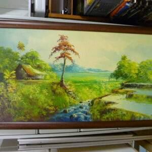 Schilderij, Indonesisch landschap, houtenlijst