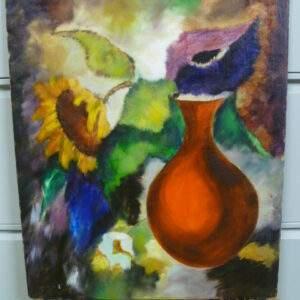 schilderij op doek, rode vaas met zonnebloem