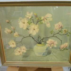 Prent met magnolia tak in vaas, Herman Hugo Berten