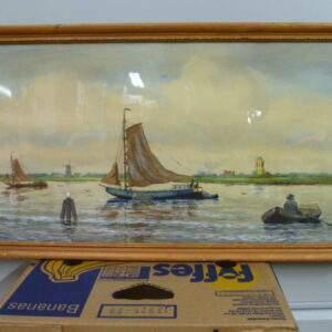 Schilderij van boten op het water,Hollands tafereel in houten lijst.