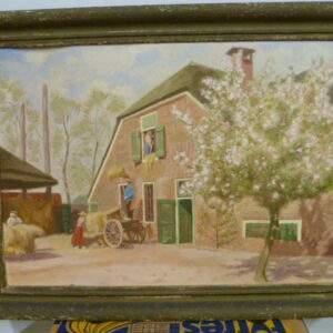 schilderij,boederij, binnen halen hooi, in oude lijst