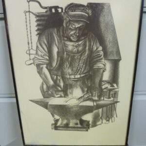 schilderij / tekening van een smid