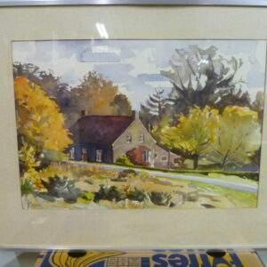 Schilderij, aquarel van herfst afbeelding met woning