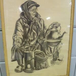 Schilderij, tekening, man met pijp en waterketel