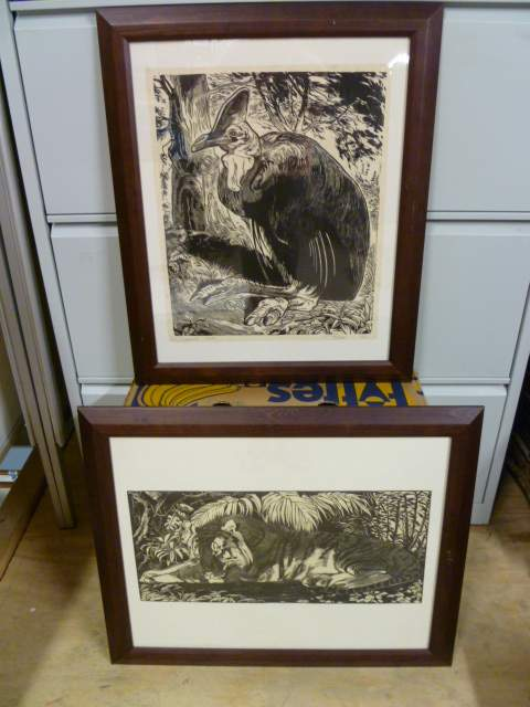 2 schilderijen in een zelfde lijst, casuaris en tijger
