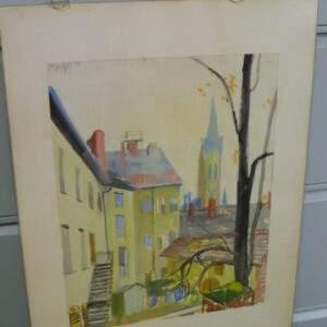 Schilderij, aquarel, straatbeeld