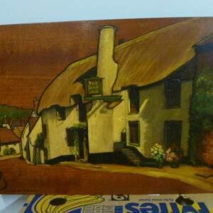 Schilderij op houten plank, mooi uitgevoerd, The Ship Inn, Porlock