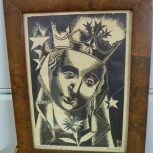Kunstwerk van Hubert Levigne, portret vrouw met kroon.