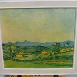 Schilderij, landschap in houten lijst.