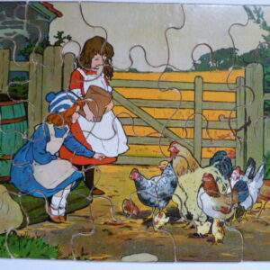 Oude puzzel, 2 meisjes voeren kippen