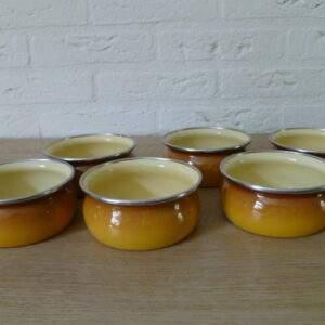 Set van 6 geëmailleerde pannetjes