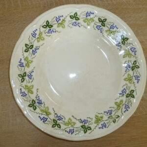 Diepe borden, blauw / groen bloemmotief, CBM made in Italy