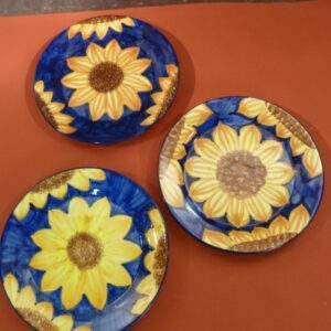 Blauw met zonnebloem, set borden/wandborden, made in Spain