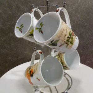 Set mokken, Siaki Porcelain met standaard