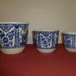 Set van 3 bloempotten Delfts Blauw